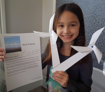 Earth day wind turbine windmill and FREE Earth Day fact sh
