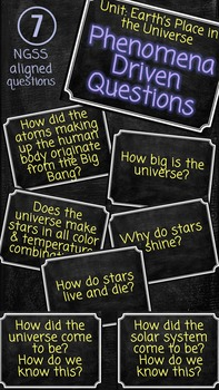 Earth's Place in the Universe NGSS Driving Phenomena Questions