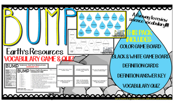 Earth's Resources ROCKS Vocabulary Game Quiz