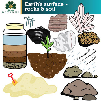 Earth's Surface - Rocks and Soil Clip Art