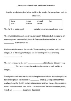 Earth structure and plate tectonics differentiated worksheet