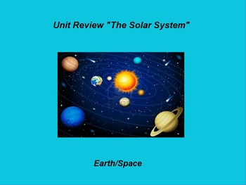 """Earth/Space ActivInspire Unit Assessment Review """"The Solar"""