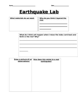 Earthquake lab sheet