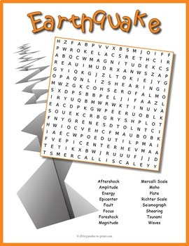 Earthquake Word Search Puzzle