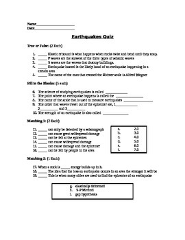 Earthquakes Assessment (Quiz)
