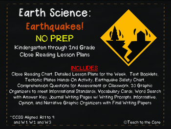 Earthquakes! NO PREP Close Reading K-2 w/ Text, Graphic Or