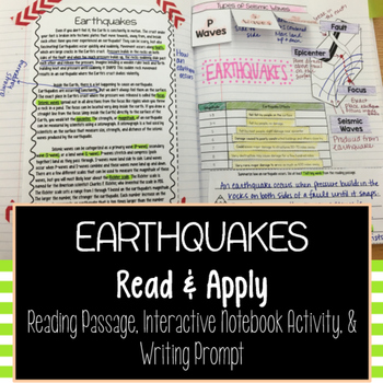 Earthquakes Reading Comprehension Interactive Notebook
