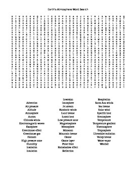 Earth's Atmosphere Word Search