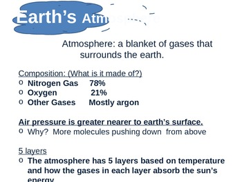 Earth's Atomosphere! The 5 Layers! Atmosphere PowerPoint