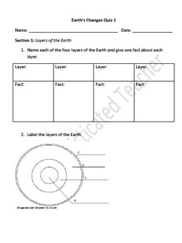 Earth's Changes  Assessment (erosion, weathering,  layers