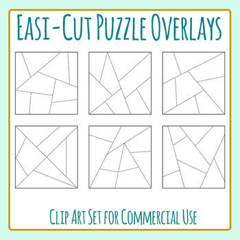 Easi-Cut Jigsaw Puzzle Template Overlays Clip Art for Comm