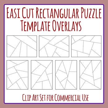 Easi-Cut Rectangle Jigsaw Puzzle Template Overlays Clip Ar
