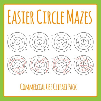 Easier Circle Mazes - Simple Mazes with Solutions Commerci