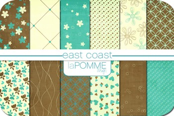 East Coast Beach Summer Patterned Digital Paper Pack
