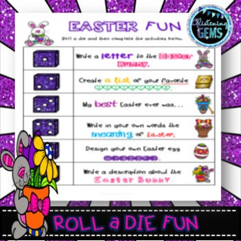 Easter Game Roll a Die Writing Literacy Center