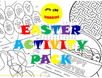 Easter Activity Pack - math & english & fun games (12 prin