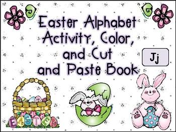 Easter Alphabet Activity Color Cut and Paste Book Jj