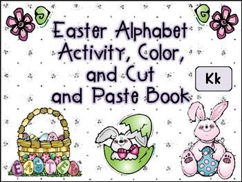 Easter Alphabet Activity Color Cut and Paste Book Kk