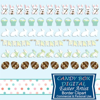 Easter Artist Borders - Bunnies, Baskets, Chocolate Eggs and more
