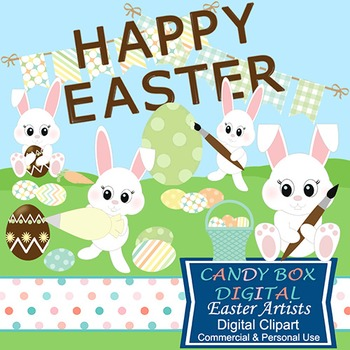 Easter Artists Bunny Clip Art - Commercial Use OK