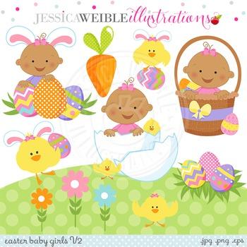 Easter Baby Girl V2 Cute Digital Clipart, Dark Skin Baby G