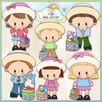 Easter Basket Kids Clip Art - Easter Clip Art - CU Clip Art & B&W