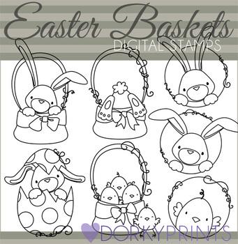 Easter Baskets Black Line Clip Art