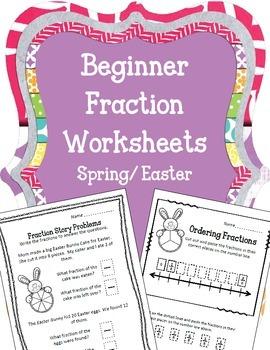 Easter Beginner Fraction Worksheets.  Spring Bunnies Story