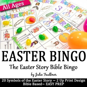 Easter Bible BINGO for Kids 20 Easy Prep Cards/20 Clues, F