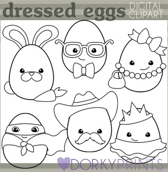 Easter Blackline Clip Art - Dressed Up Easter Eggs
