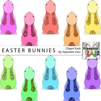 DOLLAR DEAL Easter Bunnies Clipart - Easter / Glitter #eastersale
