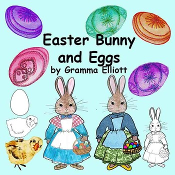 Easter Bunnies and Eggs Clip Art - Color and Black Line