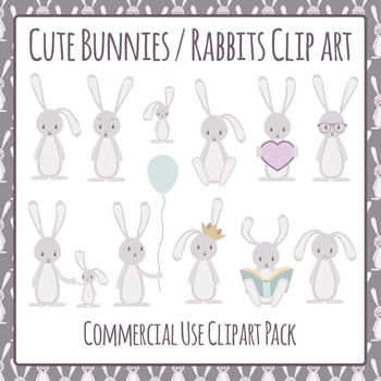 Easter Bunnies or Rabbits Commercial Use Clip Art Pack