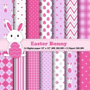 Easter Bunny Digital Paper & Clipart