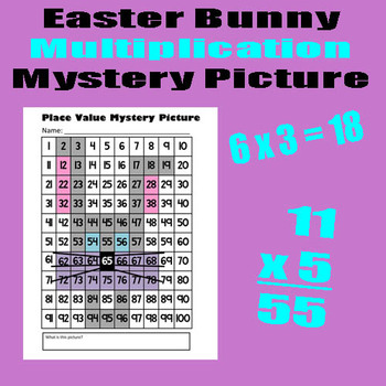 Easter Bunny - Multiplication Math Mystery Picture - 8.5x11