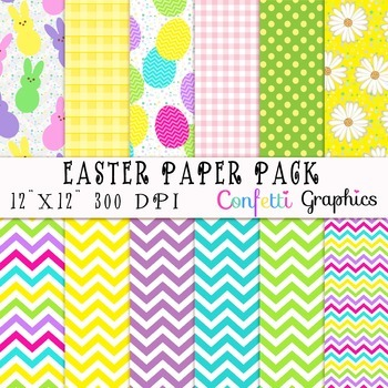 Easter Bunny Peeps and Eggs Colorful Spring Digital Paper