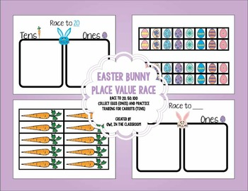 Easter Bunny Place Value Race to 20, 50, 100