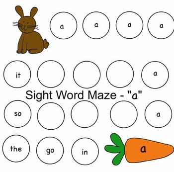 Easter Bunny Sight Word Maze - 'A'