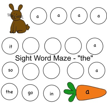 """Easter Bunny Sight Word Maze - """"the"""""""