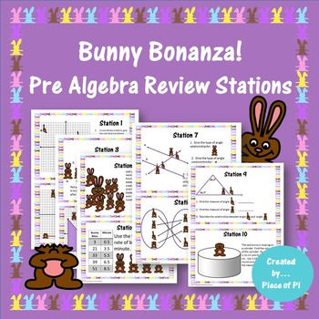 Easter Bunny Stations Pre Algebra Review Activity Spring T