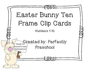 Easter Bunny Ten Frame Clip Cards