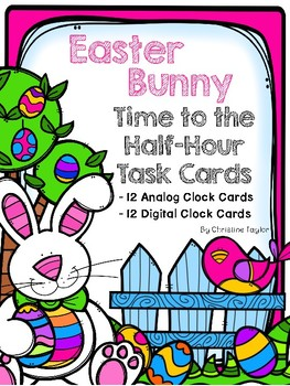 Easter Bunny Themed Telling Time to the Half-Hour Roam the