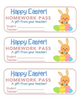 """""""Easter"""" Bunny With Eggs - Homework Pass – Holiday FUN! (f"""