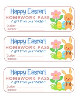 """""""Easter"""" Bunny With Flower - Homework Pass –Holiday FUN! ("""