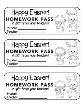 """Easter"" Bunny with Basket - Homework Pass –Holiday FUN! ("