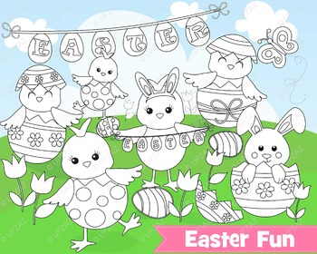 Easter Chickens Lineart Clipart, Commercial Use - UZ891
