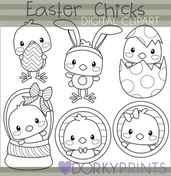 Easter Chicks Black Line Clip Art - Spring Clip Art