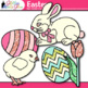 Easter Clip Art {Cute Bunny, Glitter Eggs, and Flowers for