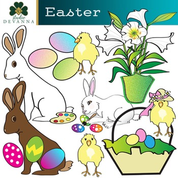 Easter Clip Art - Spring Rabbits and Yellow Chicks