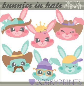 Easter Clip Art - Bunnies in Hats